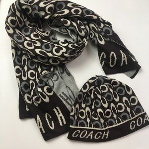 Coach Signature Knit Acrylic Hat and Scarf Set
